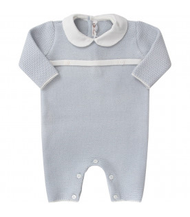 LITTLE BEAR Light blue babyboy babygrow with white belt