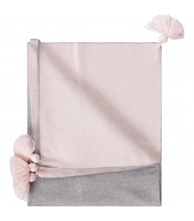LITTLE BEAR Grey and pink babygirl blanket with tassels