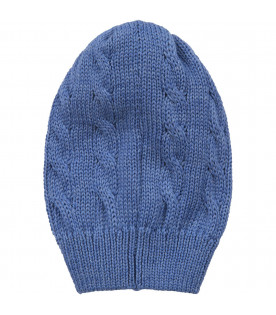 Azure babyboy hat with cable knit