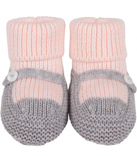 LITTLE BEAR Pink and grey babygirl bootee