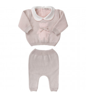 LITTLE BEAR Beige babygirl suit with pink iconic bear