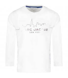 LITTLE MARC JACOBS White kids t-shirt with skyline and logo