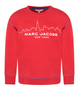 LITTLE MARC JACOBS Red kids sweatshirt with skyline and logo