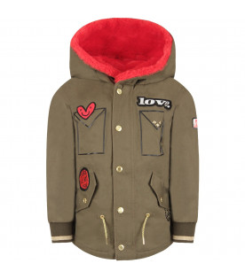 Military green girl parka jacket with red eco-fur