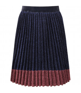 Blue and pink lurex girl skirt