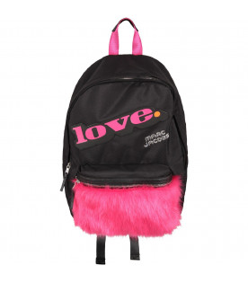 LITTLE MARC JACOBS Black girl backpack with patch and eco-fur pocket