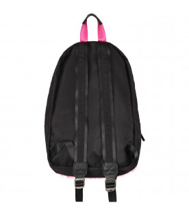 LITTLE MARC JACOBS Zaino nero con patch e tasca in ecopelliccia per bambina