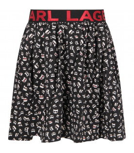 KARL LAGERFELD KIDS Black girl skirt with all-over print