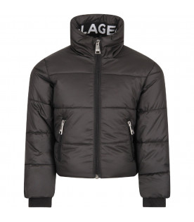 KARL LAGERFELD KIDS Black padded girl jacket with white logo