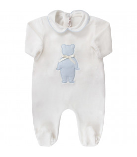 LITTLE BEAR White babyboy babygrow with light blue bear