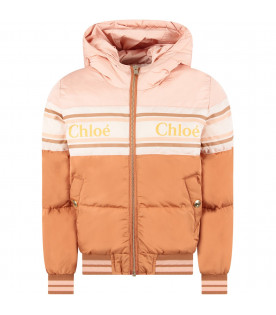 CHLOÉ KIDS Color block girl padded jacket with logo