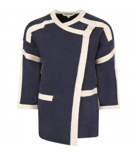 CHLOÉ KIDS Blue girl knit coat