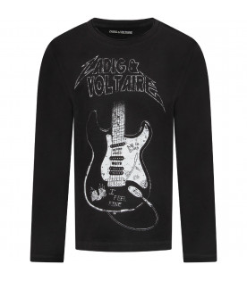 Black boy T-shirt with white logo and guitar