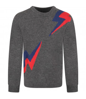 ZADIG & VOLTAIRE KIDS Grey boy sweater with blue and red thunders
