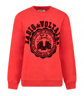 ZADIG & VOLTAIRE KIDS Red boy sweatshirt with black logo