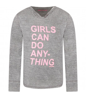 Grey girl T-shirt with pink writing