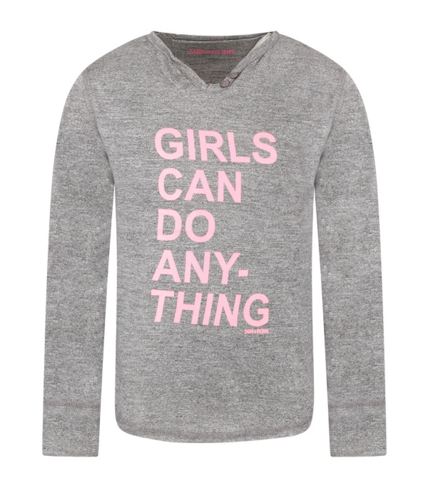 ZADIG & VOLTAIRE KIDS Grey girl T-shirt with pink writing