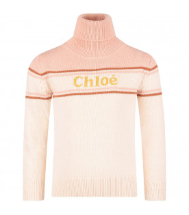Pink colorblock girl sweater