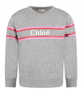 CHLOÉ KIDS Grey girl sweatshirt with logo