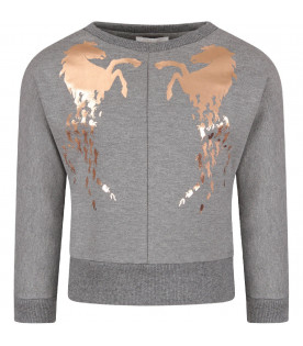 Grey girl sweatshirt with horses