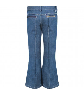 CHLOÉ KIDS Blue denim flared girl jeans