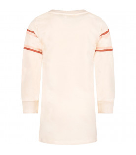 CHLOÉ KIDS Pink girl dress with logo