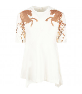 CHLOÉ KIDS Ivory girl dress with horses