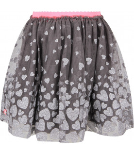 Grey tulle skirt with hearts for girl