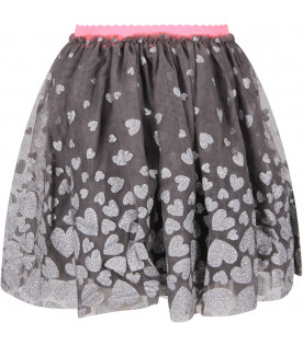 Grey tulle girl skirt with hearts