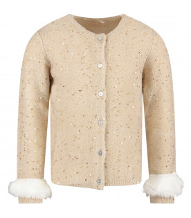 Beige girl cardigan with gold sequins