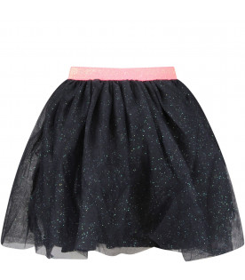 Blue tulle girl skirt with pompons
