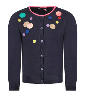 Blue girl cardigan with macro-sequins
