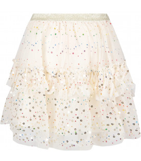 Gonna avorio in tulle con pois multicolor per bambina