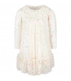 Ivory tulle girl dress with colorful polka-dots