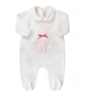 LITTLE BEAR White babygirl babygrow with pink bear