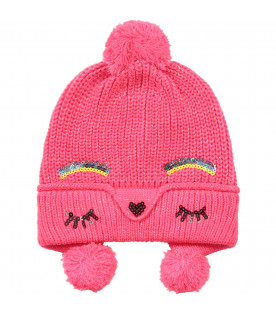 Neon fuchsia girl hat with sequined detail