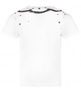 White girl T-shirt with black logo and stars