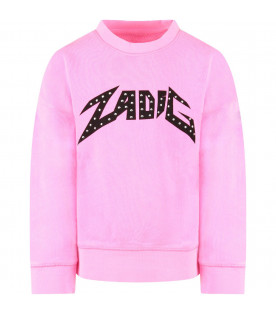 ZADIG & VOLTAIRE KIDS Neon fucshia girl sweatshirt with black logo