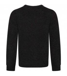 Black boy sweater with blue and red logo
