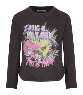 Grey girl T-shirt with colorful logo and guitar