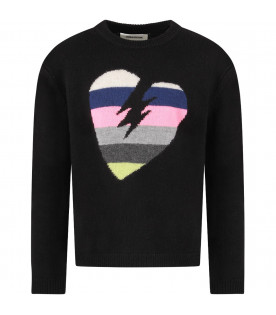 ZADIG & VOLTAIRE KIDS Black girl sweater with colorful heart