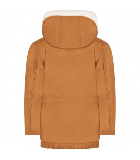 Brown parka jacket for boy