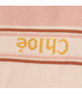 CHLOÉ KIDS Pink girl scarf with logo