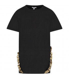 Black girl T-shirt with gold logo