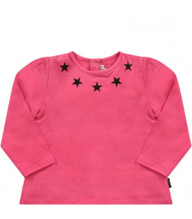 GIVENCHY KIDS Fucshia babygirl T-shirt with black stars