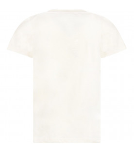 GUCCI KIDS Ivory girl T-shirt with logo and tiger