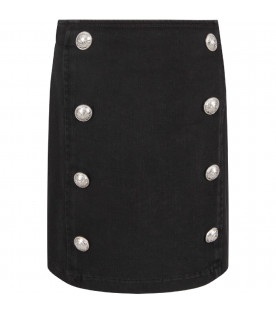 Black skirt with branded bottons for girl