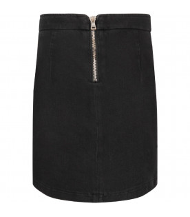 BALMAIN KIDS Black girl skirt with branded bottons