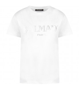 White T-shirt with silver logo for boy