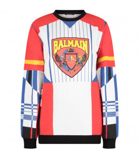 BALMAIN KIDS Multicolor boy sweatshirt with yellow logo